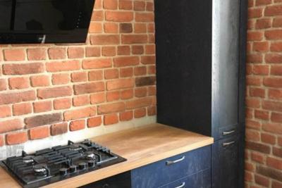 кухня из массива синяя